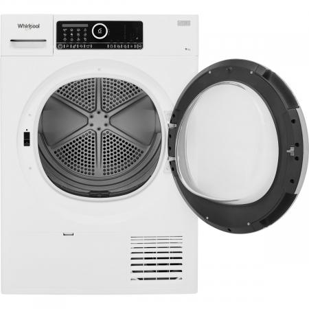 Uscator de rufe Whirlpool Supreme Care STU92XEU, Pompa de caldura, 9 kg, Clasa A++, Motor Inverter, 6th Sense, Display digital, Alb [2]