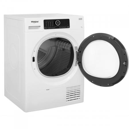 Uscator de rufe Whirlpool Supreme Care STU92XEU, Pompa de caldura, 9 kg, Clasa A++, Motor Inverter, 6th Sense, Display digital, Alb [3]