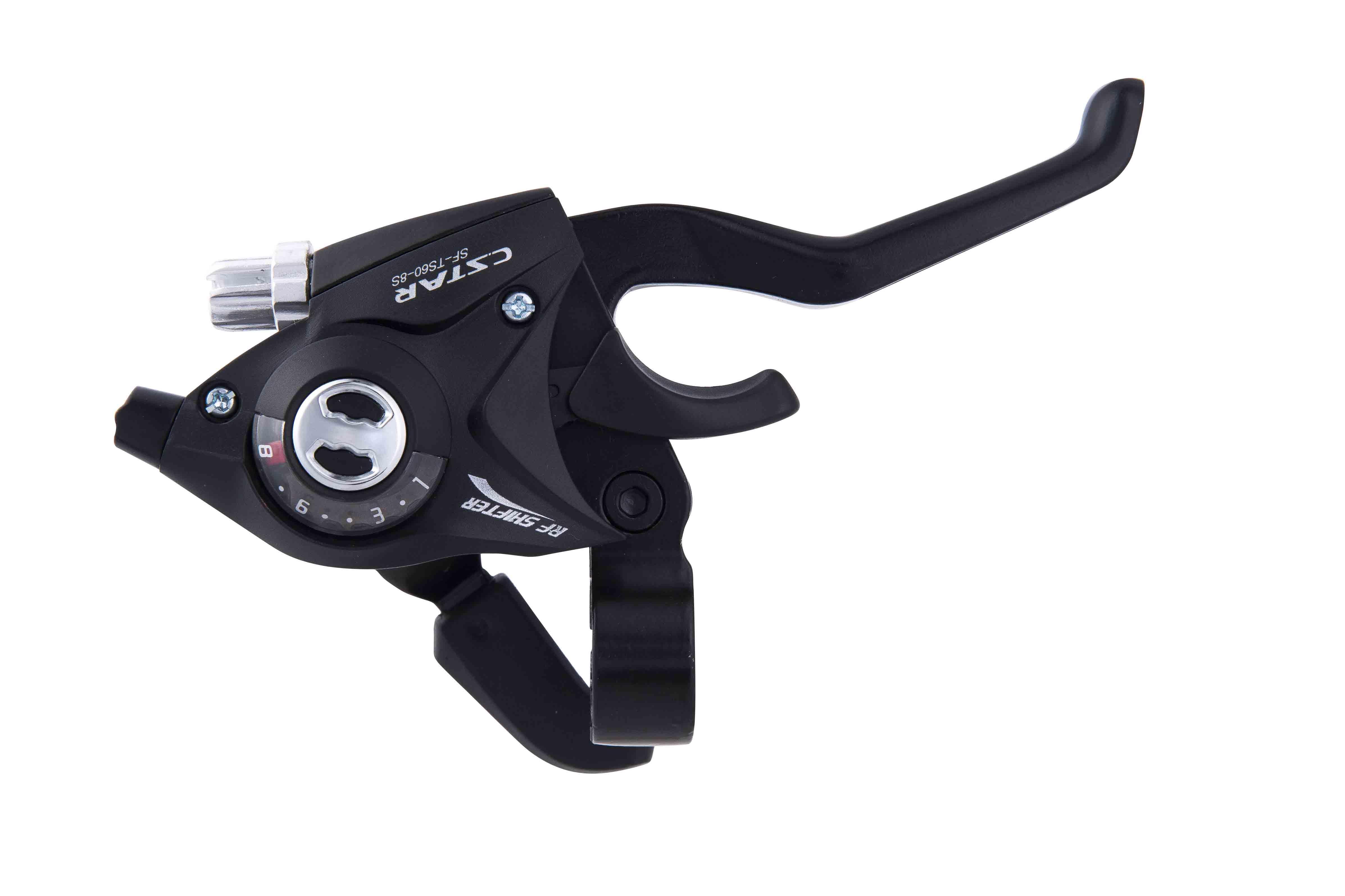 Manete dublu control schimbator-frana Radius SF-TS60, stanga-fata 3vit, dreapta-spate 8 vit, cabluri incluse, aluminiu-nylon, negre [1]