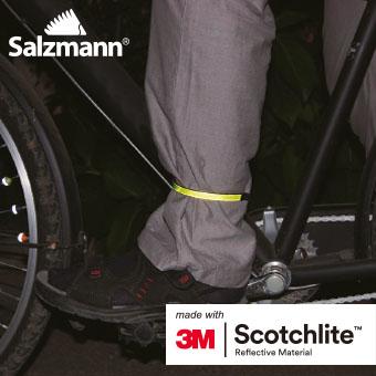Accesorii Reflectorizante Salzmann 3M - Cleme, nylon flexibil, prindere peste pantalon, set 2buc, verde fosfor. 2