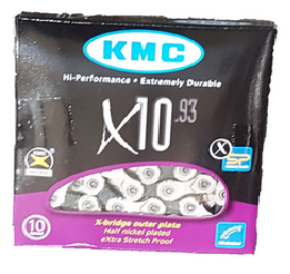 "Lant Kmc X10 viteze,1/2x11/128"",114 zale,Double X Bridge Shape,negru-argintiu 0"