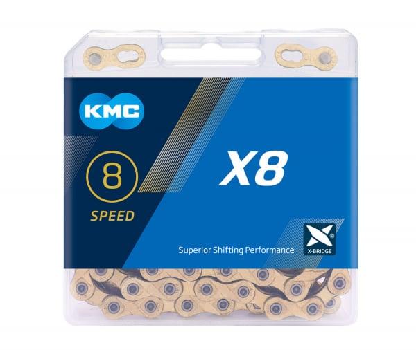 Lant KMC X8, 116zale, argintiu-gri 0