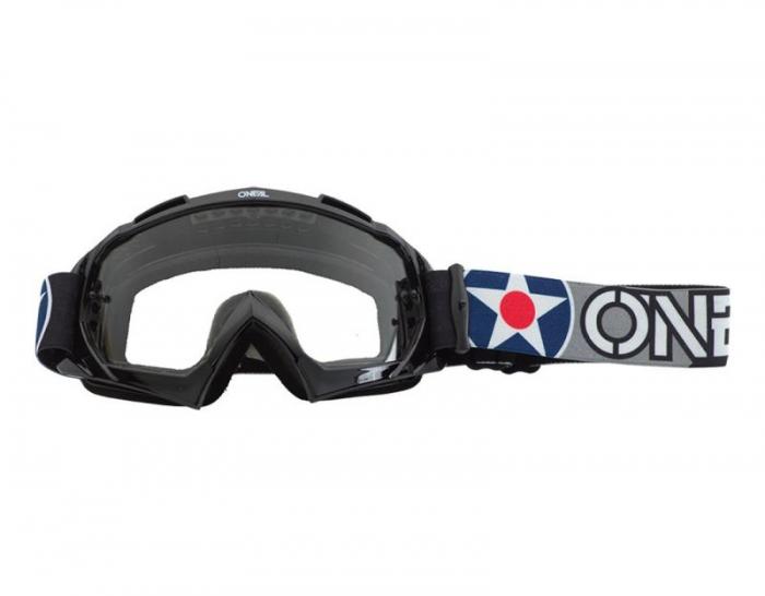 Ochelari O'Neal B-10 Warhawk, Lentila Transparenta, Negru/Gri 0