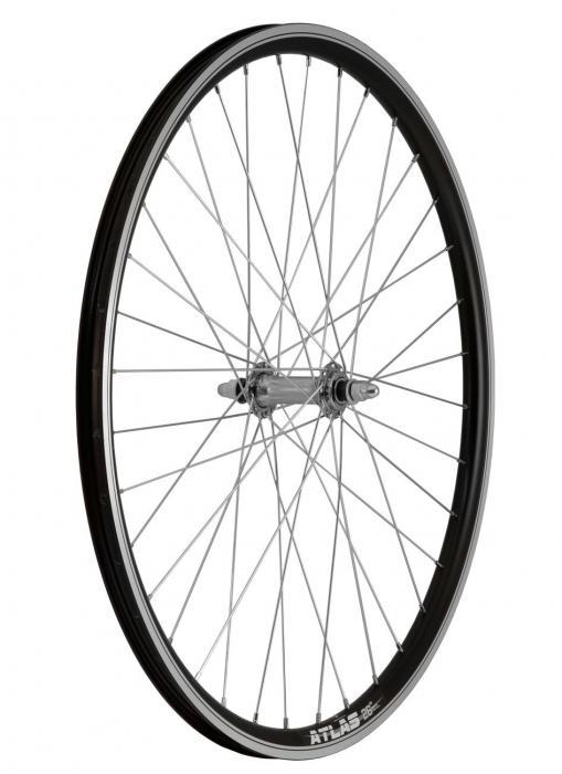"""Roata Bicicleta Fata Atlas 26"""", 559X18, Alu Profil Dublu Culoare Negru, Cnc, Spite Otel Nichelate, Butuc Simplu Argintiu, 3/8, 36H 1"""
