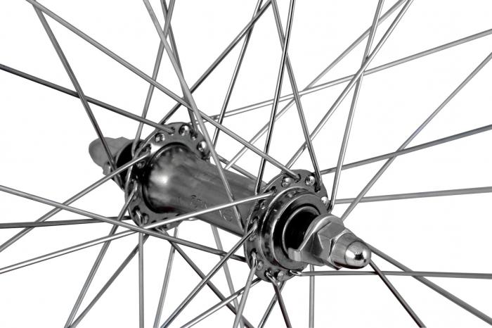 """Roata Bicicleta Fata Atlas 26"""", 559X18, Alu Profil Dublu Culoare Negru, Cnc, Spite Otel Nichelate, Butuc Simplu Argintiu, 3/8, 36H 2"""