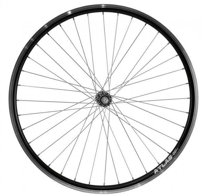 """Roata Bicicleta Fata Atlas 26"""", 559X18, Alu Profil Dublu Culoare Negru, Cnc, Spite Otel Nichelate, Butuc Simplu Argintiu, 3/8, 36H 0"""