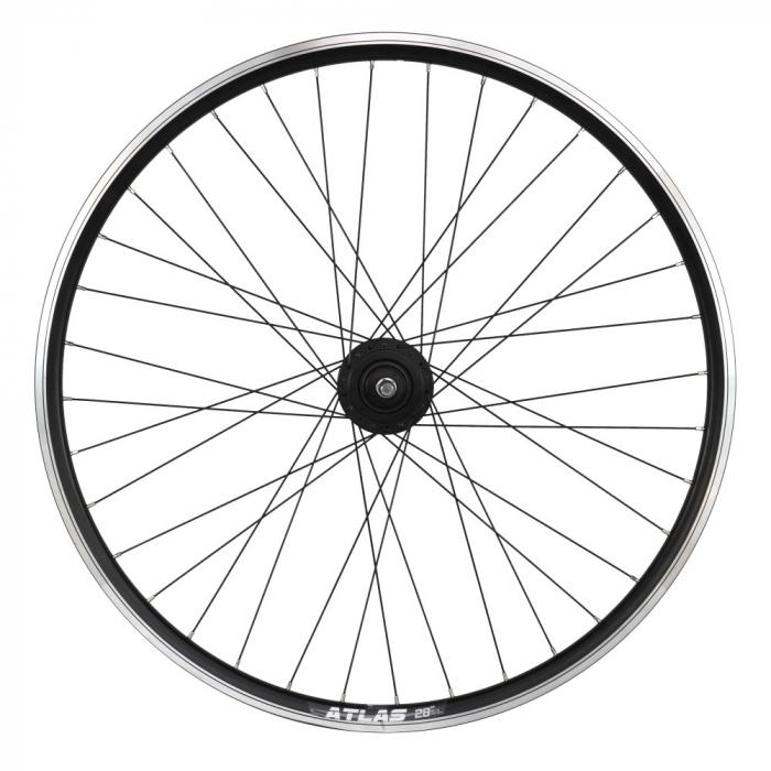 "Roata Bicicleta Fata Atlas 28"",622X18,Alu Dubla,Cnc, Spite Otel,Butuc Dh-3N31-Nt 36H,Neagra [0]"