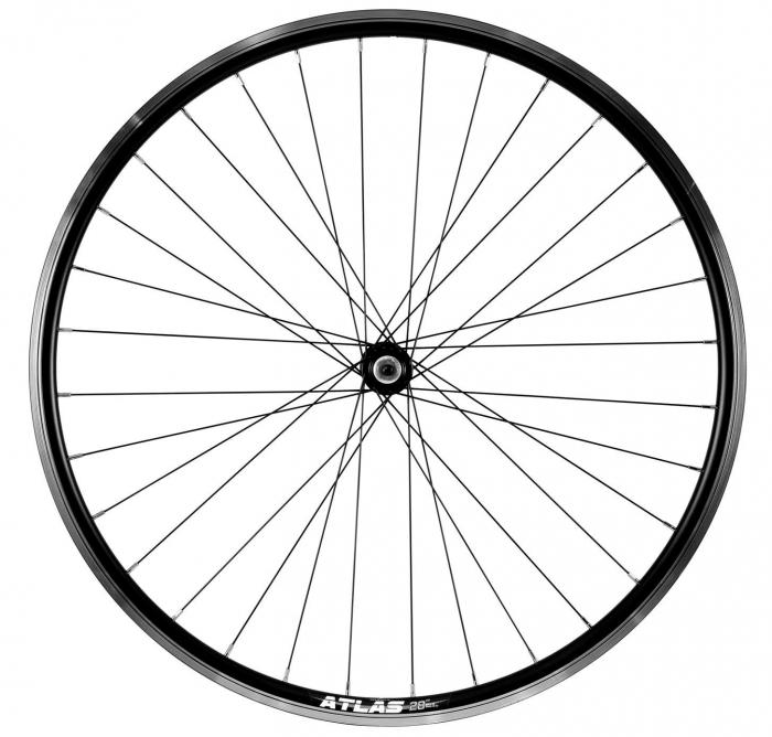 """Roata Bicicleta Fata Atlas 28"""", Profil Dublu Culoare Natur/Negru, Cnc, Spite Otel Nichelate, Butuc Quando Kt-A15F, Qr, 32 H [0]"""