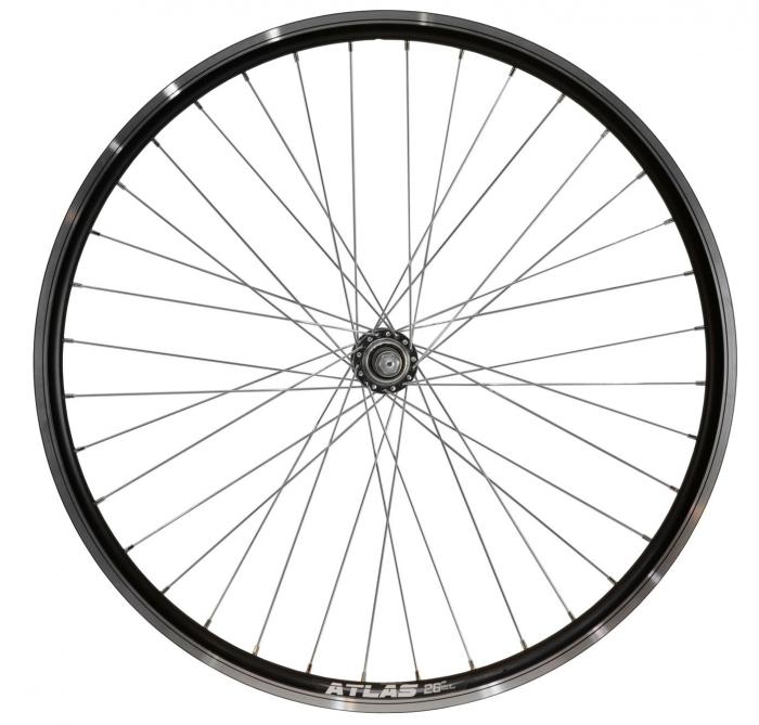 """Roata Bicicleta Spate Atlas 26"""", Profil Dublu Culoare Negru, Cnc, Spite Otel Nichelate, Butuc Metal, Pinion Argintiu, 3/8, 36H 0"""
