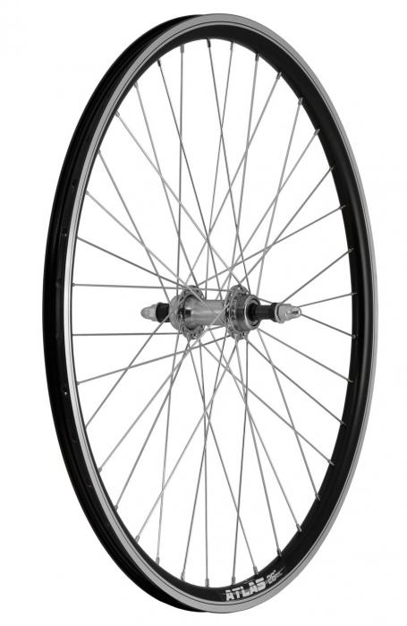 """Roata Bicicleta Spate Atlas 26"""", Profil Dublu Culoare Negru, Cnc, Spite Otel Nichelate, Butuc Metal, Pinion Argintiu, 3/8, 36H 1"""