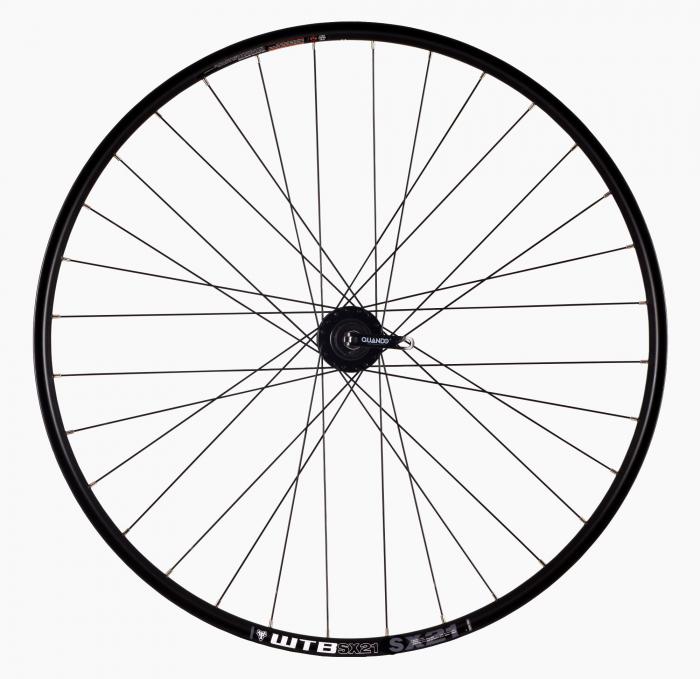 "Roata Bicicleta Spate Wtb Sx21 27,5"", 584X21, Alu Dubla, Neagra, Disk Brake, Sticker Lime, Spite Negre, Butuc Quando Kt-K68R, Caseta 8, Qr, 32H 1"