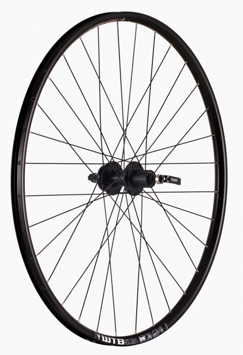 "Roata Bicicleta Spate Wtb Sx21 27,5"", 584X21, Alu Dubla, Neagra, Disk Brake, Sticker Lime, Spite Negre, Butuc Quando Kt-K68R, Caseta 8, Qr, 32H 0"