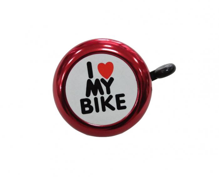 Sonerie Copii Annuo 45Ae-05, D54Mm, I Love My Bike, Aluminiu, Rosie 0