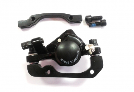 Frane Disc Mecanic Power Rush-550 Fata Sau Spate, Alu, disc160, Adaptor Fata180/Spate160, suruburi, complete, negre [1]