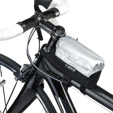 Geanta-Borseta Cadru Topeak Vtri Bag All Weather, husa argintie ploaie, prindere curele cadru fata1