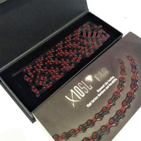 Lant KMC X10 SL DLC - 1/2 x 11/128 inch, 10 Viteze, Negru-Rosu [1]