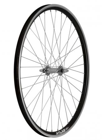 """Roata Bicicleta Fata Atlas 26"""", 559X18, Alu Profil Dublu Culoare Negru, Cnc, Spite Otel Nichelate, Butuc Simplu Argintiu, 3/8, 36H1"""