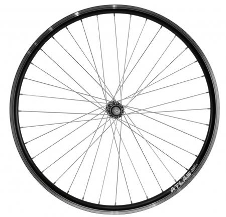 """Roata Bicicleta Fata Atlas 26"""", 559X18, Alu Profil Dublu Culoare Negru, Cnc, Spite Otel Nichelate, Butuc Simplu Argintiu, 3/8, 36H0"""