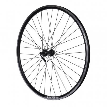 "Roata Bicicleta Fata Atlas 28"", 622X18, V-Brk, Spite Ngr, Butuc Shimano Hb-Tx500,Ax Qr9,36H,1040G,Neagra1"