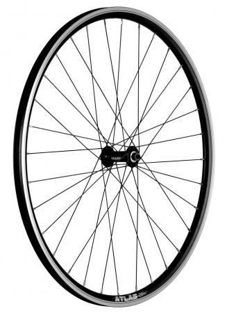 """Roata Bicicleta Fata Atlas 28"""", Profil Dublu Culoare Natur/Negru, Cnc, Spite Otel Nichelate, Butuc Quando Kt-A15F, Qr, 32 H [1]"""