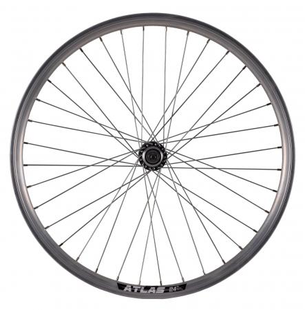 "Roata Bicicleta Spate Atlas 24"", 507X18, Alu Dubla, Argintie Natur, V-Brake Cnc, Butuc Viteza Otel Nichelat, 36H, 3/8 Old13249 [1]"