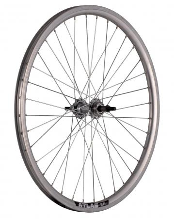 "Roata Bicicleta Spate Atlas 24"", 507X18, Alu Dubla, Argintie Natur, V-Brake Cnc, Butuc Viteza Otel Nichelat, 36H, 3/8 Old13249 [0]"