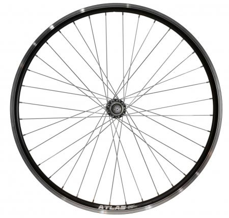 """Roata Bicicleta Spate Atlas 26"""", Profil Dublu Culoare Negru, Cnc, Spite Otel Nichelate, Butuc Metal, Pinion Argintiu, 3/8, 36H0"""