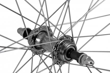 """Roata Bicicleta Spate Atlas 26"""", Profil Dublu Culoare Negru, Cnc, Spite Otel Nichelate, Butuc Metal, Pinion Argintiu, 3/8, 36H2"""
