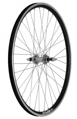 """Roata Bicicleta Spate Atlas 26"""", Profil Dublu Culoare Negru, Cnc, Spite Otel Nichelate, Butuc Metal, Pinion Argintiu, 3/8, 36H1"""