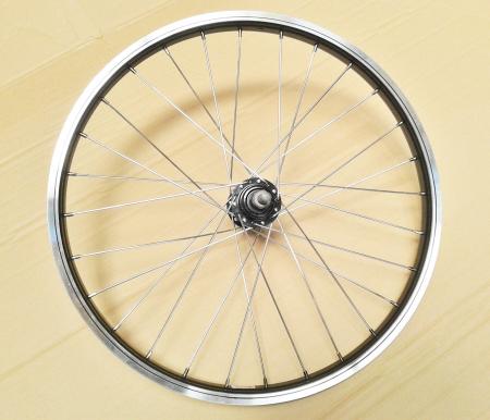 """Roata Bicicleta Spate Luna 20"""", 406X21, Alu Simpla, Neagra, Butuc Viteza Otel Negru 28H0"""