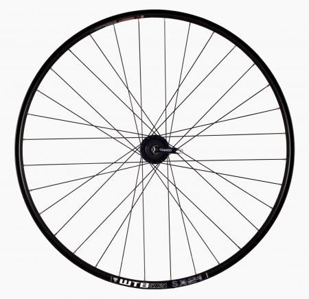 "Roata Bicicleta Spate Wtb Sx21 27,5"", 584X21, Alu Dubla, Neagra, Disk Brake, Sticker Lime, Spite Negre, Butuc Quando Kt-K68R, Caseta 8, Qr, 32H1"
