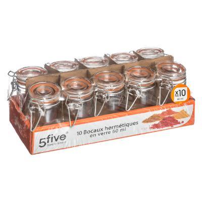 146691 Set de 10 borcane de sticla 0.06 L cu capac 1
