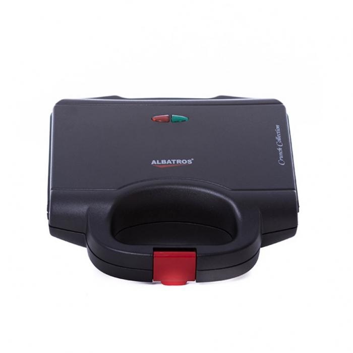 Sandwich maker Albatros S2B-750, 750 W, placi neaderente tip grill, maner termorezistent, indicator luminos incalzire, negru [1]