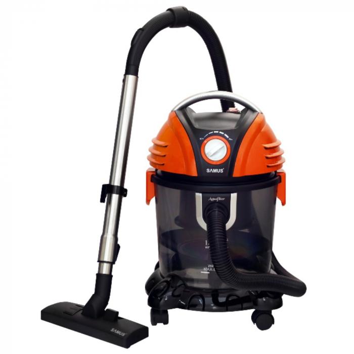 Aspirator Samus Aquafilter Orange, cu filtrare prin apa, fara sac, 15 l, 1550 W, filtru HEPA, aspirare umeda si uscata, functie suflare aer, negru cu portocaliu [0]