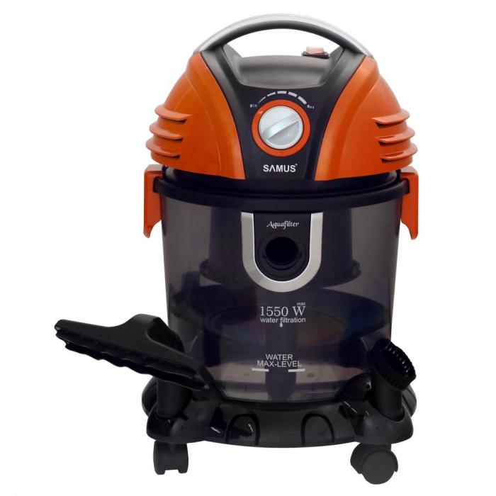 Aspirator Samus Aquafilter Orange, cu filtrare prin apa, fara sac, 15 l, 1550 W, filtru HEPA, aspirare umeda si uscata, functie suflare aer, negru cu portocaliu [1]
