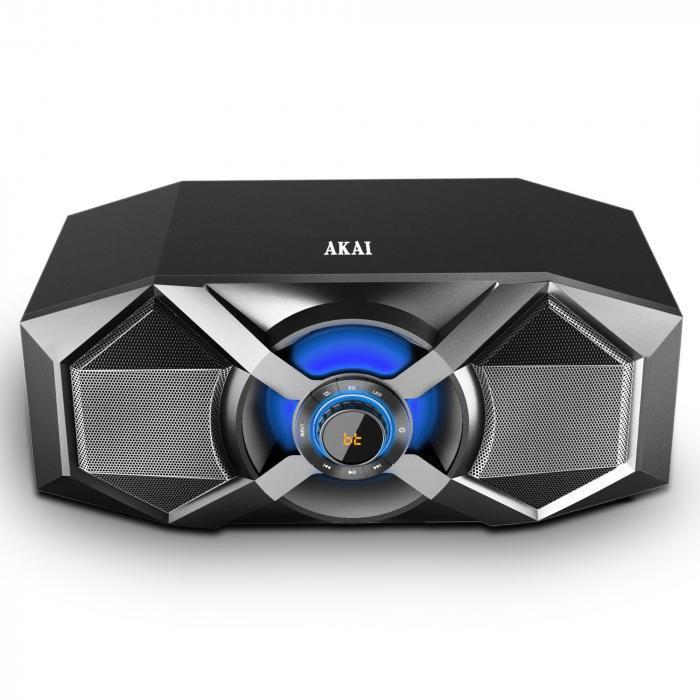 Sistem audio Akai ABTS-P6, 1 boxa activa, 60 W, Bluetooth, USB, Aux in, radio FM, egalizator, functie X-Bass, display digital, negru [0]
