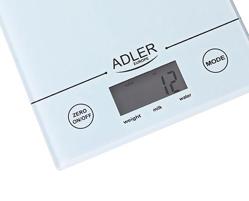 AD3138 Cantar bucatarie Adler, Monitoare & display LCD, Max. 5 Kg., gradatie de 1gram, auto zero 0