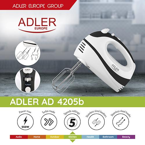 AD4205 Mixer de mana Adler, 300 W, 5 viteze 5