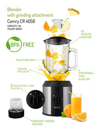 Blender profesional Camry CR 4058, 1500 W, 1.3 l, Sticla, Rasnita, Negru/Gri 7