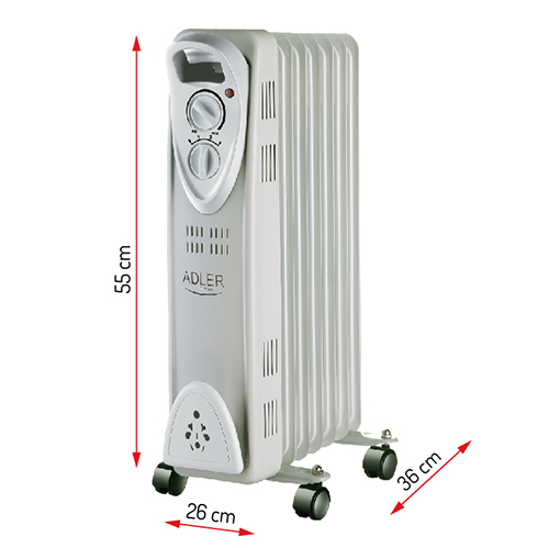 Calorifer electric Adler AD 7807, termostat, 7 elemente, 1500W 1