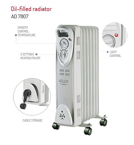 Calorifer electric Adler AD 7807, termostat, 7 elemente, 1500W 5