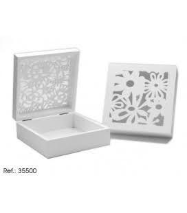 42755  Cutie pentru ceai din lemn alb cu flori mediu [0]