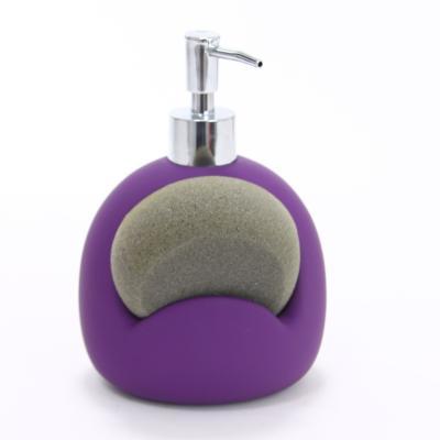 116623  Dispenser ceramic cauciucat sapun cu burete violet 0