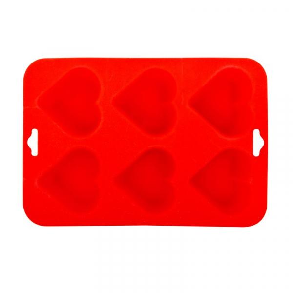 BL-1565  Forma pentru prajituri Blaumann, 6 cupe, Silicon, Inima, Rosu 0