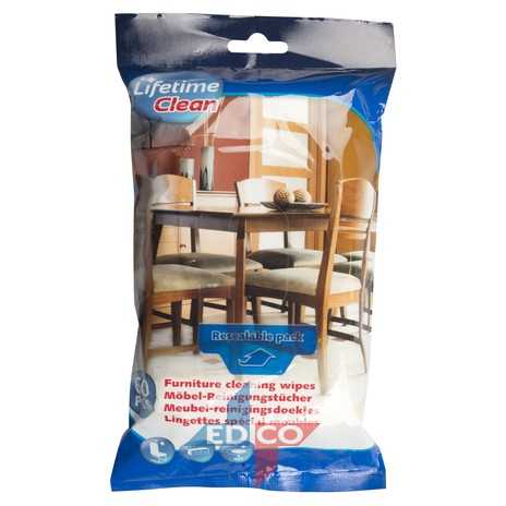 Lavete umede pentru mobilier din lemn 18 x 20 cm , 60 buc [0]