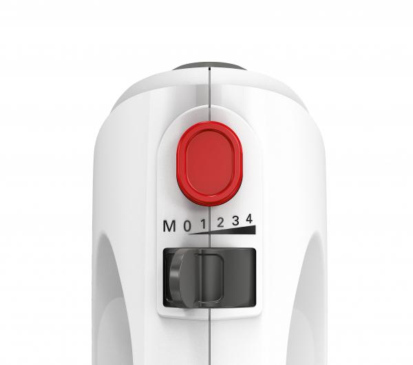 MFQ2600G Mixer cu bol Bosch, 375 W, 4 trepte de viteza+turbo, 2 spirale, 2 teluri, Alb/Gri 3