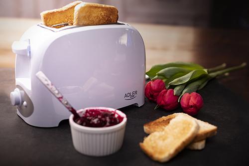 Prajitor de paine ADLER AD 3201, 750 W, 2 felii, Grad de rumenire variabil, Alb 4