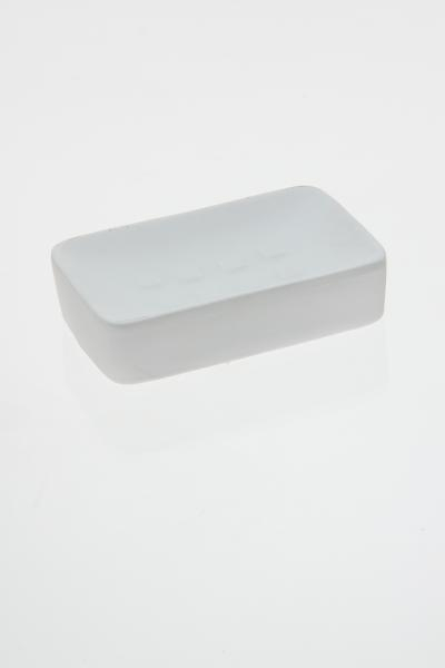 Sapuniera ceramica cauciucata alb 0