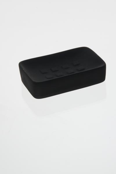105597  Sapuniera ceramica cauciucata negru 0