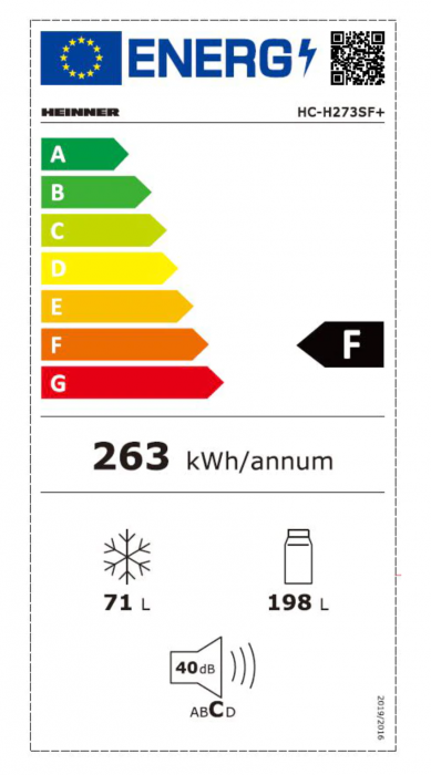 Combina frigorifica Heinner HC-H273SF+, 264 l, Clasa F, Iluminare LED, Control mecanic, Termostat ajustabil, H 176 cm, Argintiu [2]